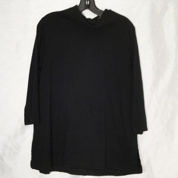Land's End ¾ sleeves buttons on back L 14 16 Black